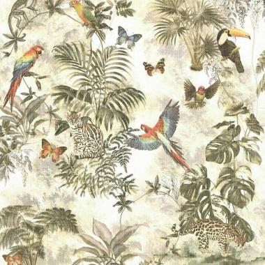 Papel Pintado Selva Tropical|Animales|Tucanes|Loros|Mariposas|Monos - TEROPIKA  | MURAKE - 415631