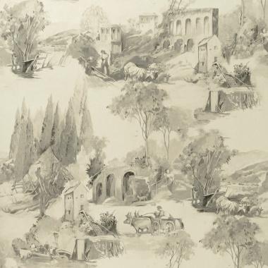 Papel Pintado Toile de Jouy - PAISAT 04   MURAKE - 1804